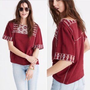 Madewell Linen Embroidered Tee Size Large